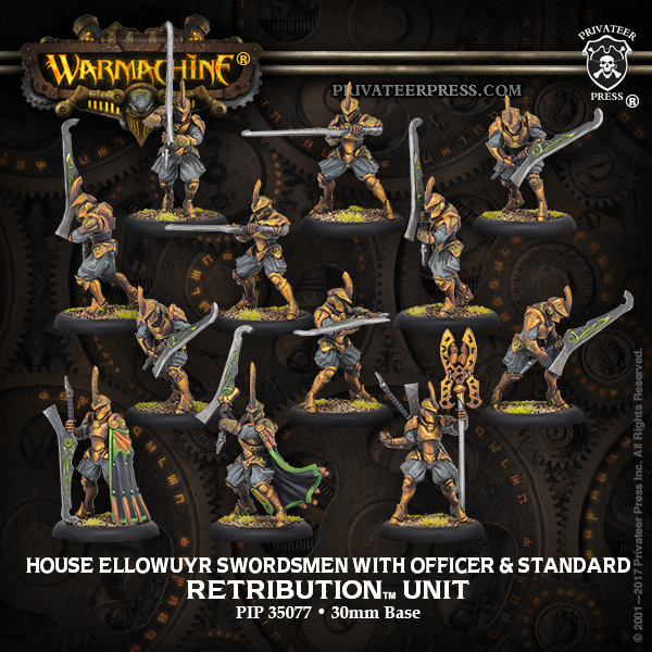House Ellowuyr Swordsmen with Officer and Standard - Retribution of Scyrah Unit and Command Attachment